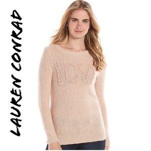 Lauren Conrad woven light blush pink sweater size extra large